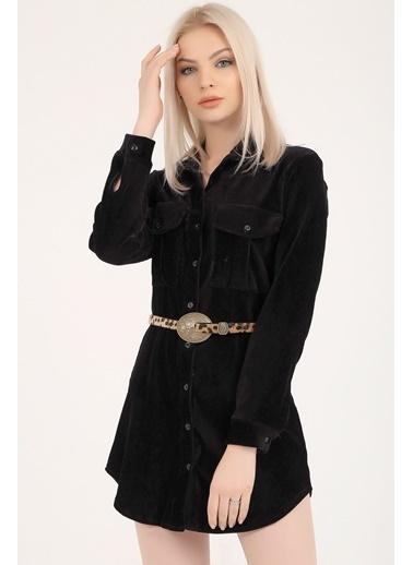 Emjey Kadife Gömlek Elbise Siyah